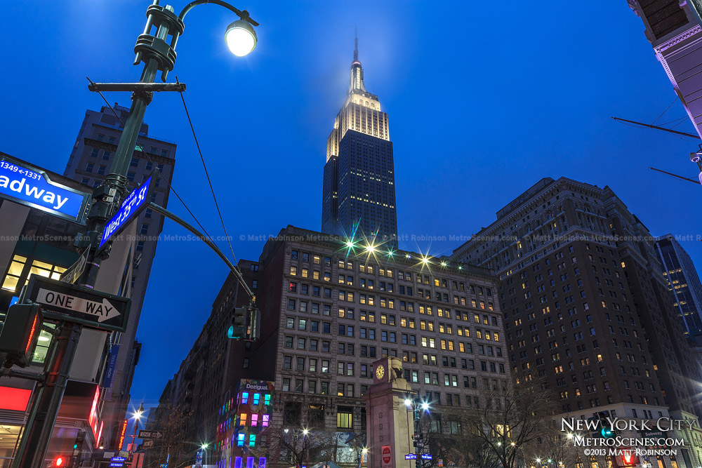 Empire State Building at night from Herald Square