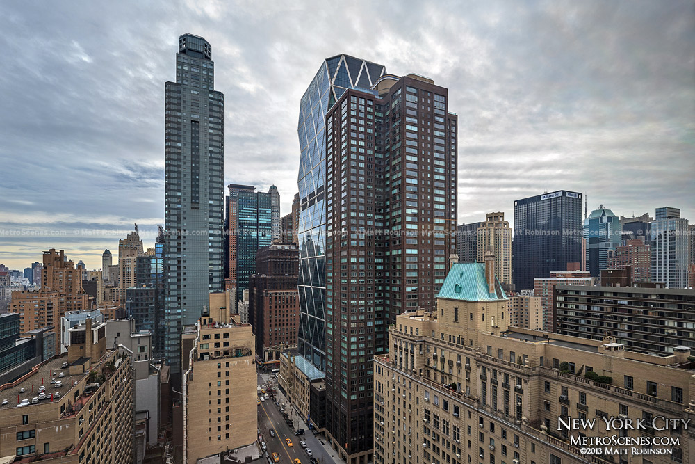 Central Park Place Condo and Hearst Tower as viewed from the Hudson Hotel