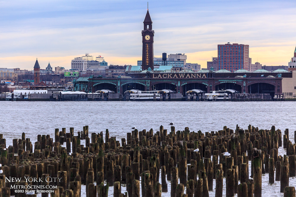 Erie Lackawaana Hoboken Terminal from former Pier 49 along the Hudson River