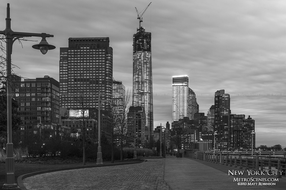 Hudson River Park with World Trade Center - Black and White