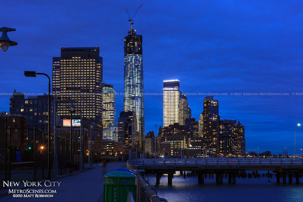 Hudson River Park with World Trade Center at night
