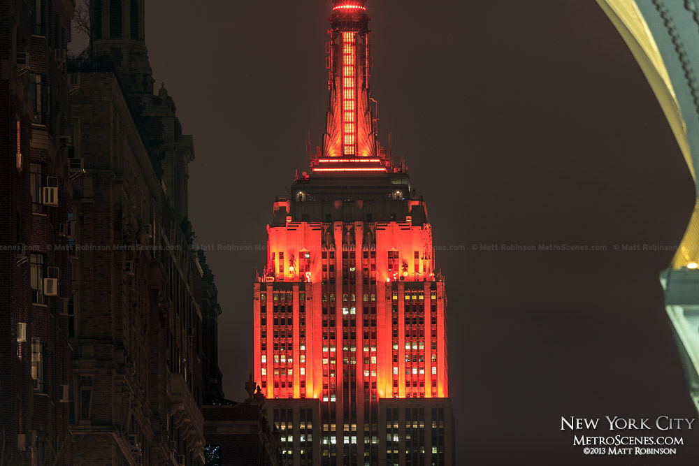 New LED lighting illuminating the Empire State Building red