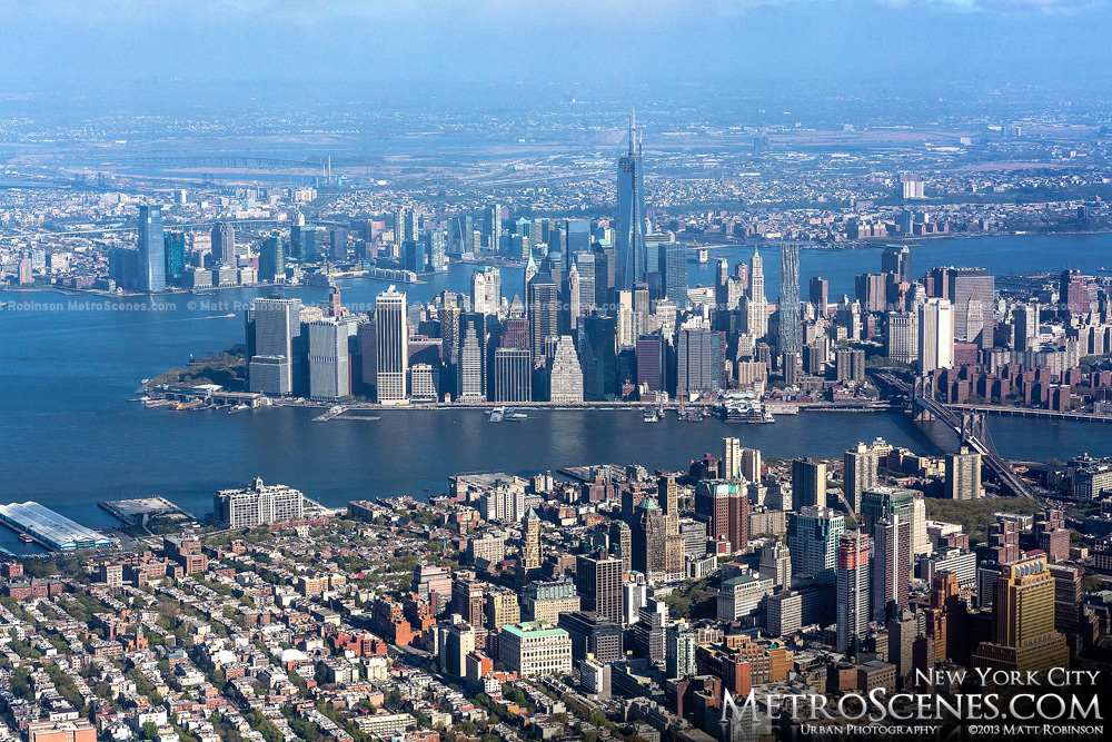 Aerial of Lower Manhattan with Brooklyn May 2013
