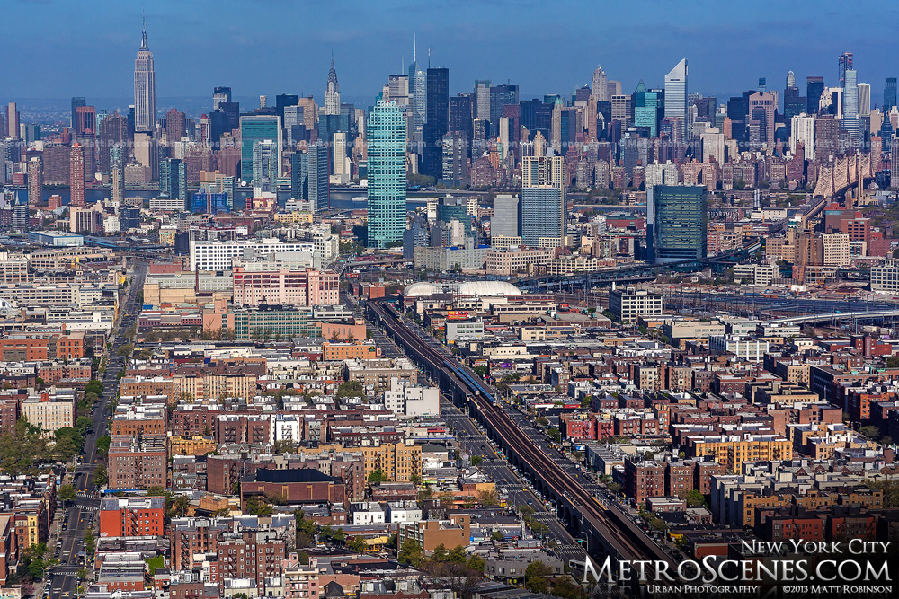 Aerial of New York City and Citi Building in Queens May 2013