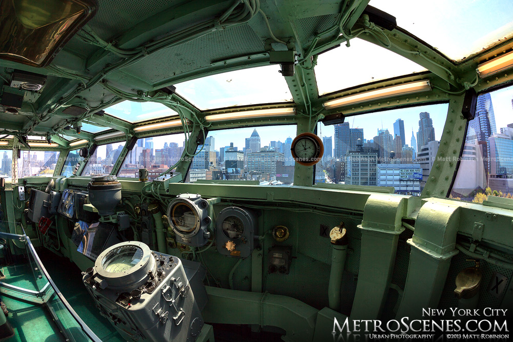 View of New York City from the navigation Bridge of the USS Intrepid