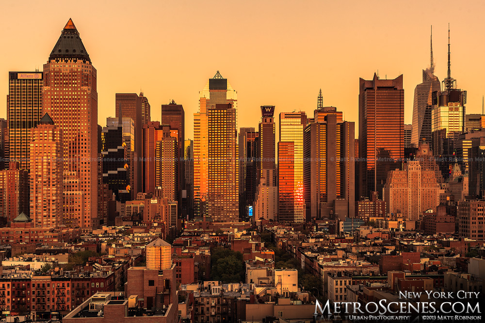 Midtown Manhattan at golden sunset