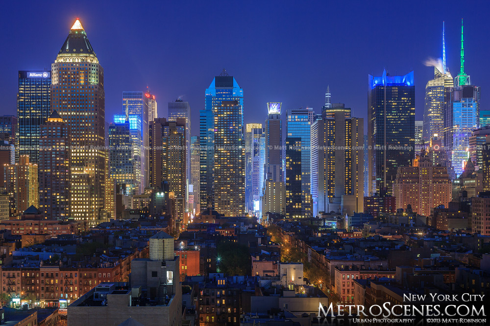 Above Hell's Kitchen looking towards New York City skyscrapers
