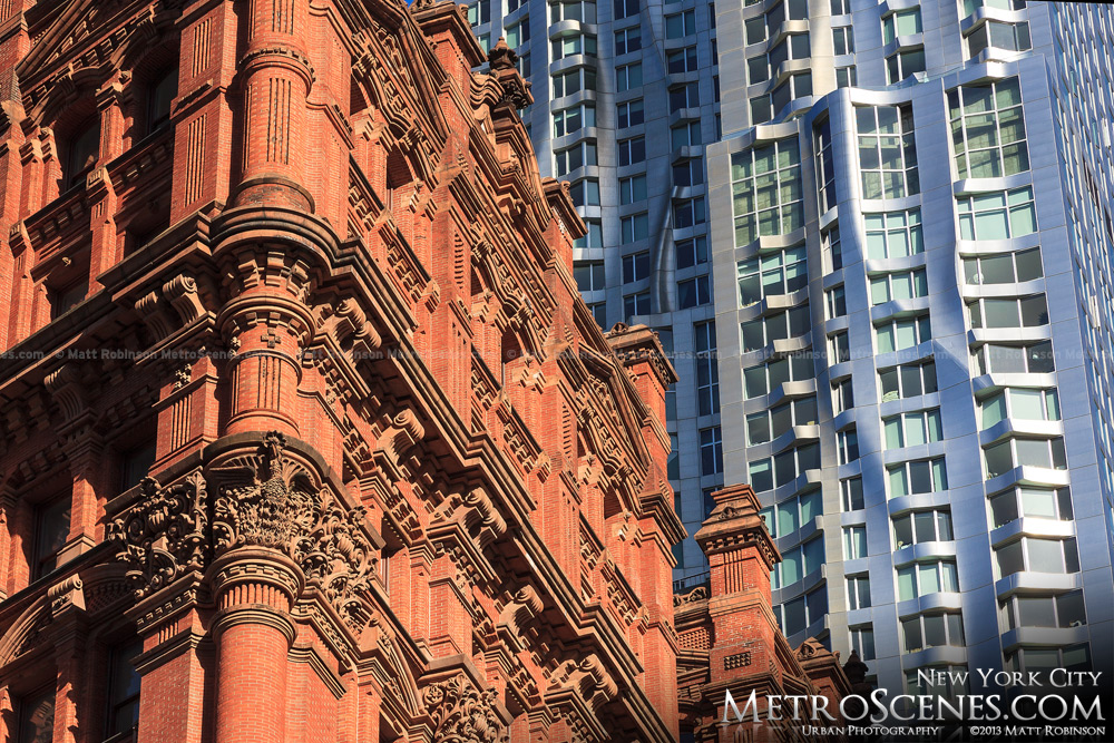 Architectural contrasts of the Potter Building and Gehry Beekman Tower