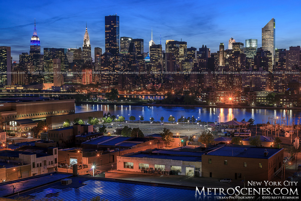 Midtown from Queens rooftop at night