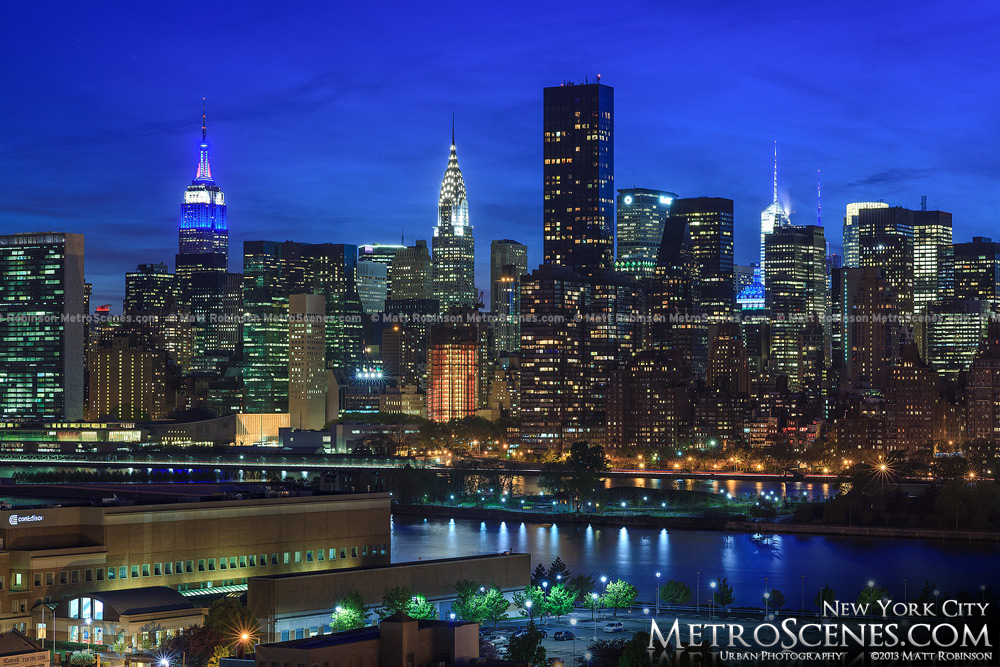 Empire State Building and Chrysler building from Queens