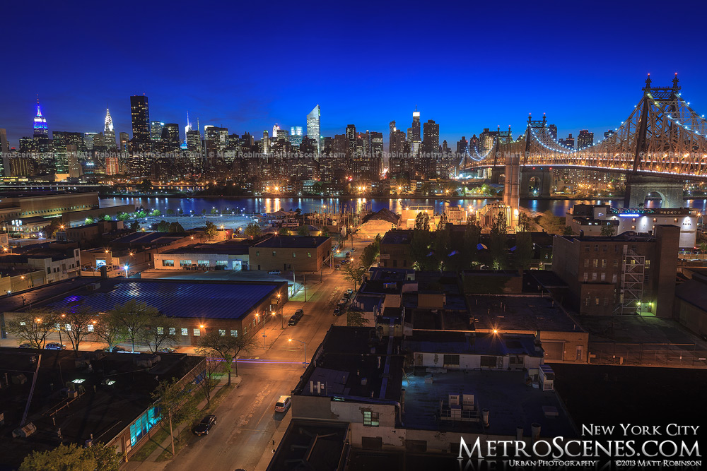 Midtown Manhattan after sunset from a Queens rooftop