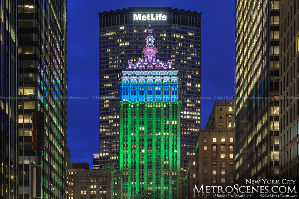 Multicolored illumination on the Helmsley Building with the Metlife Building in New York