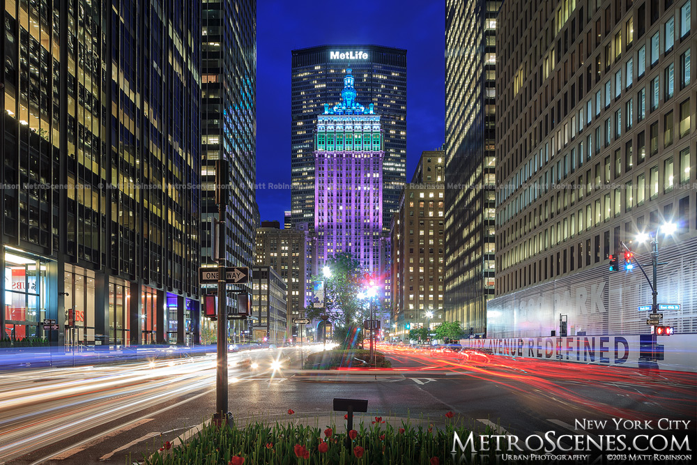 Traffic streams up and down Park Avenue in New York towards the Met Life Building