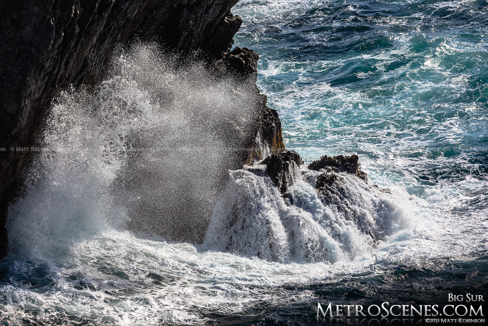 Crashing water on rocks in Big Sur