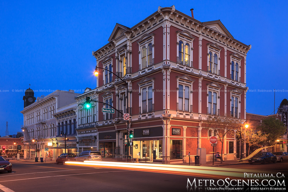 Petaluma, California at night