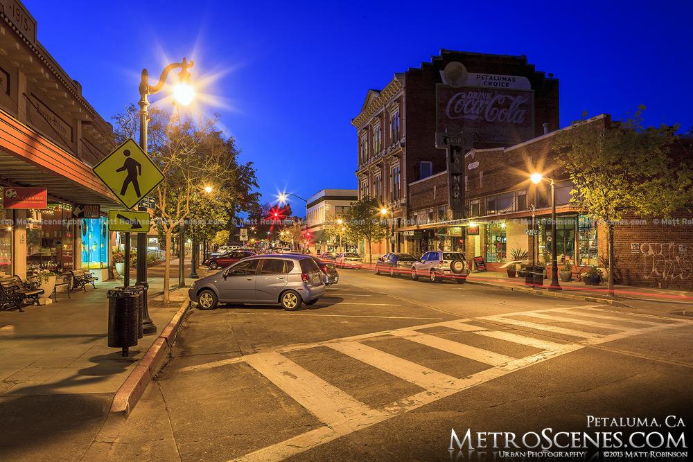 Petaluma, California at night