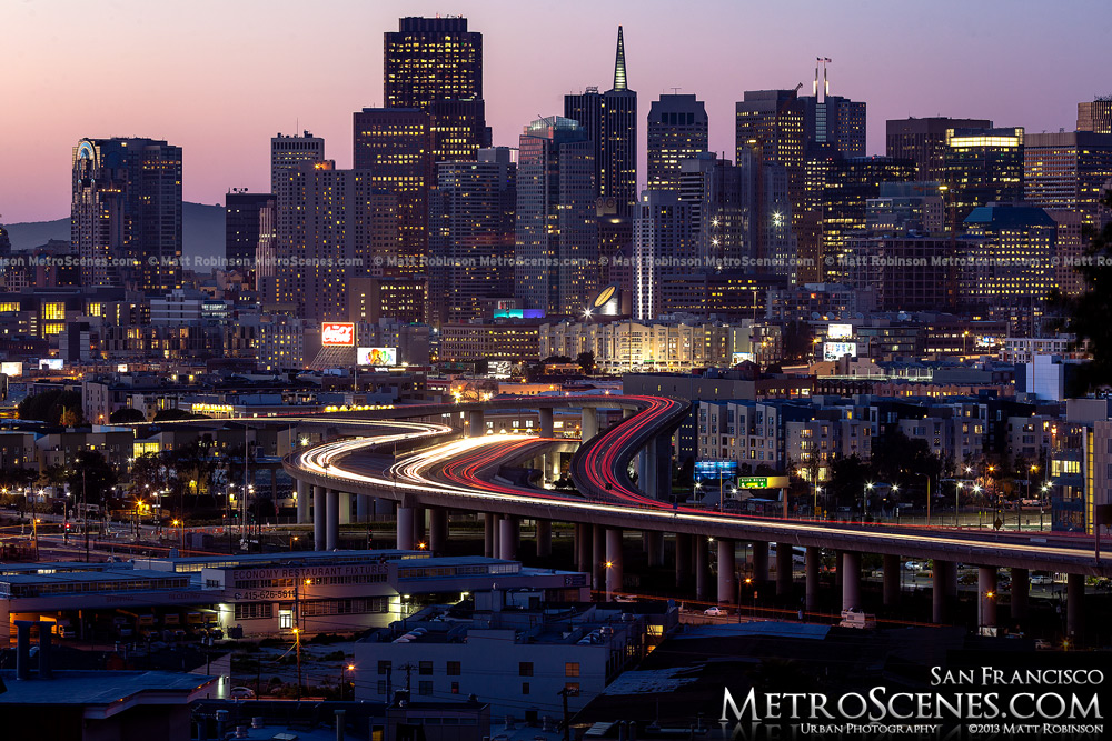 San Francisco at dusk with traffic streaming on Interstate 280