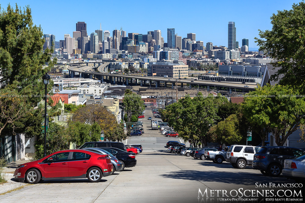 The view from of San Francisco Wisconsin Street in Potrero Hill