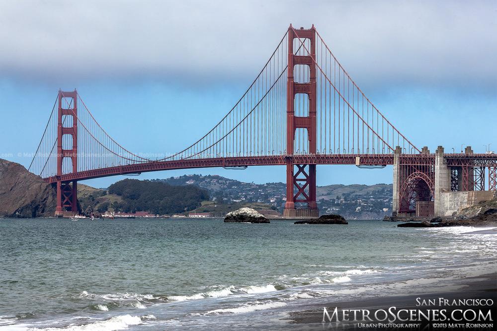 The Golden Gate Bridge as view from Baker Beach