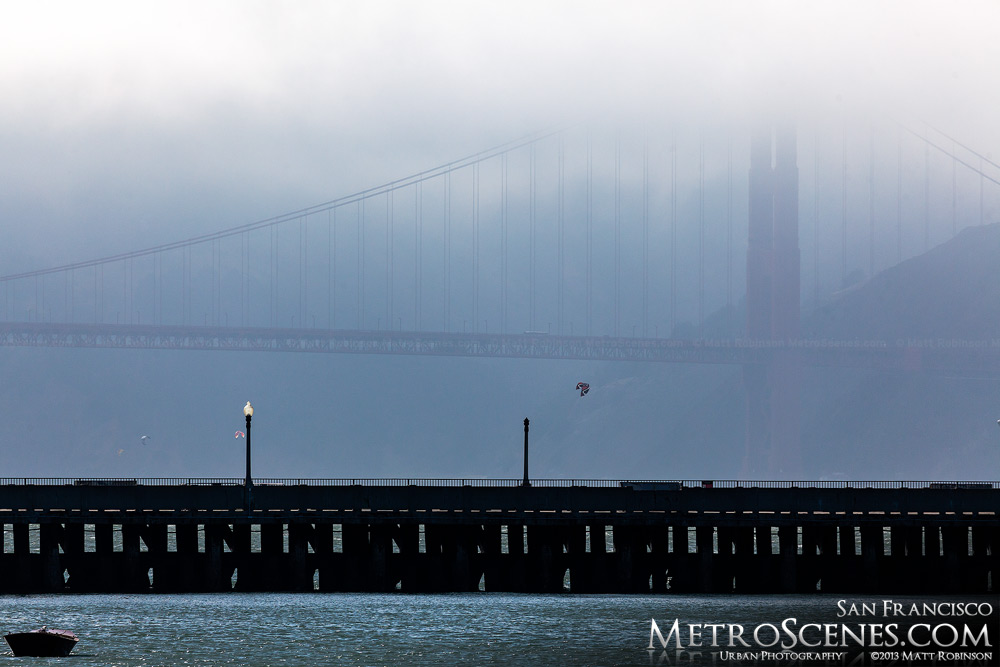 Faint Golden Gate Bridge tower in the fog