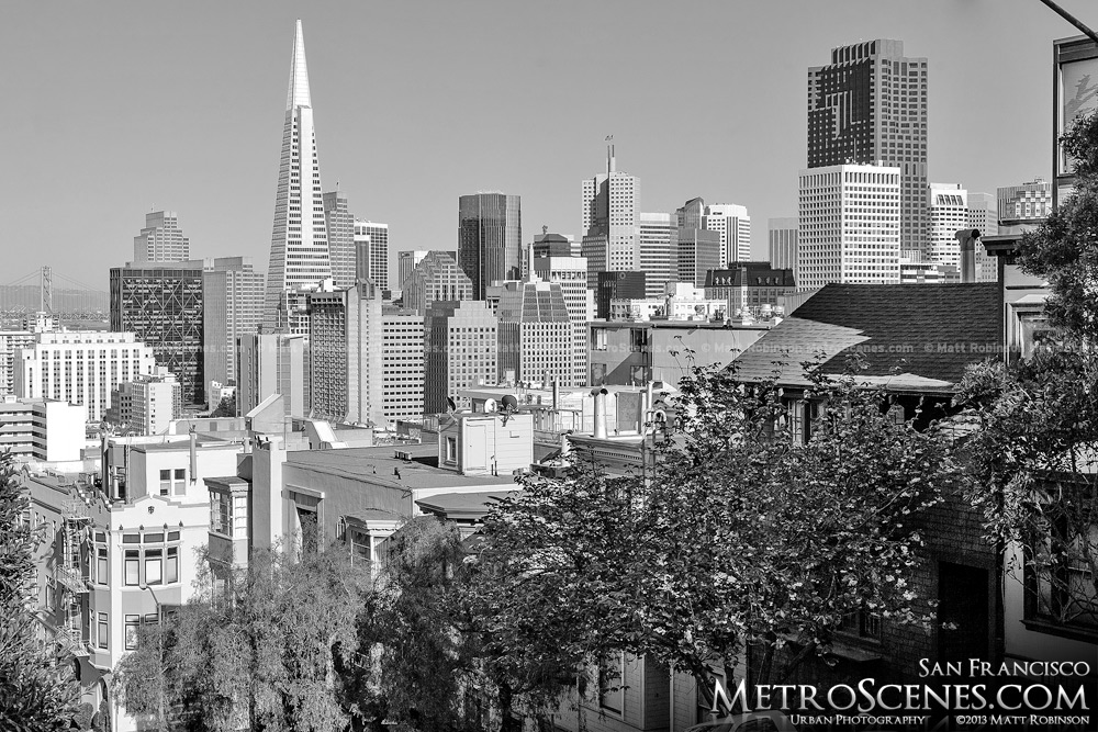 Transamerica Pyramid in Black and White from steep Broadway
