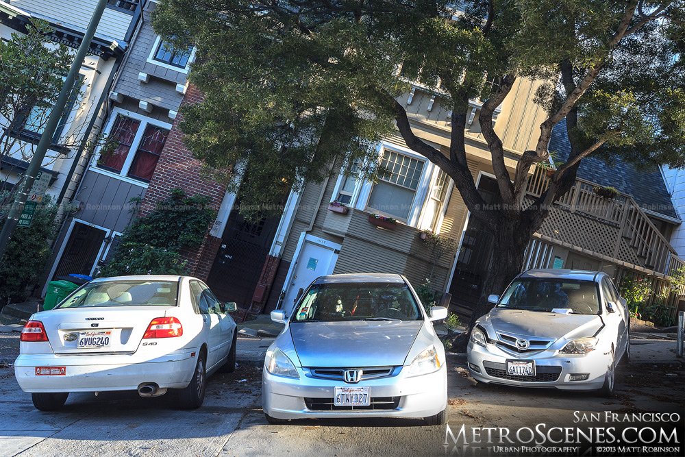 Sloped cars on Broadway st in San Francisco