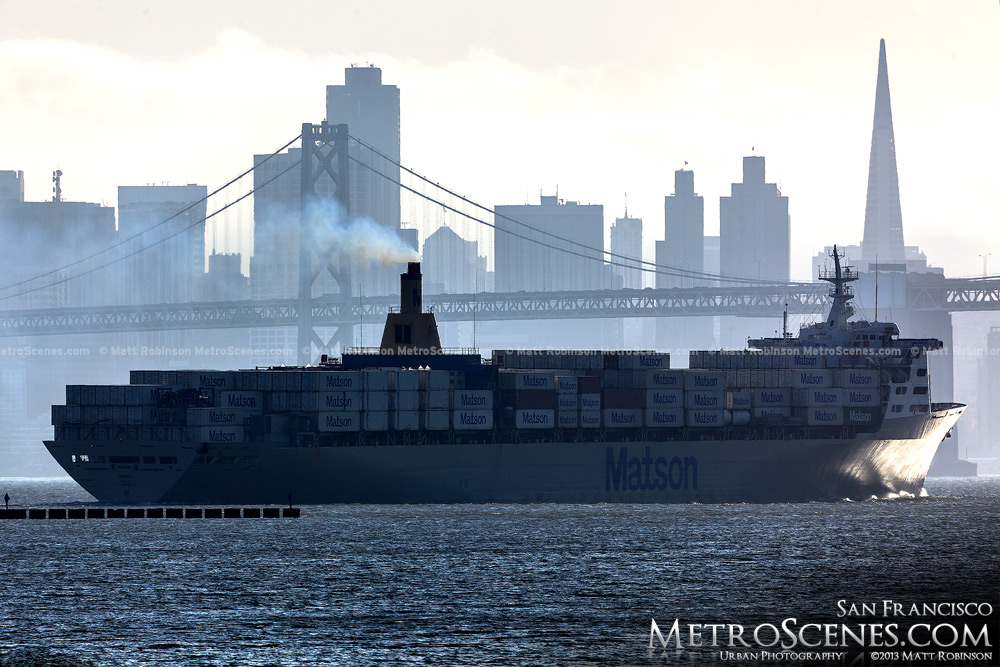 Matson Cargo ship with San Francisco Skyline