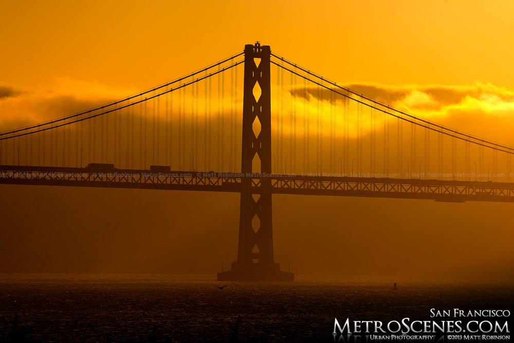 San Francisco Oakland Bay Bridge just before sunset