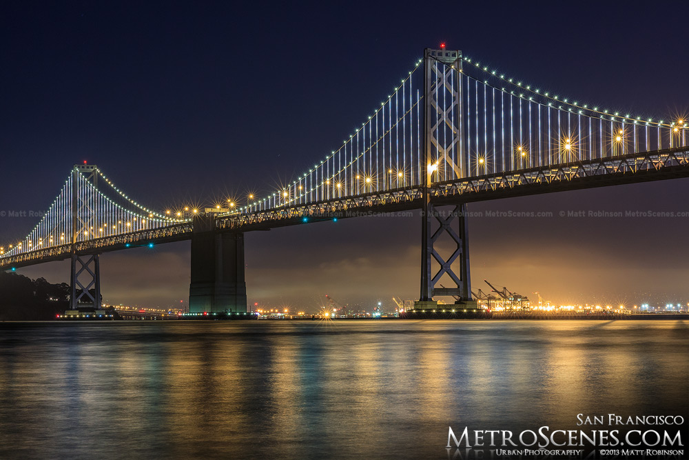 The Bay Bridge with the Bay lights