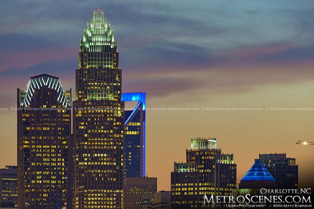 Charlotte North Carolina Skyline at sunset