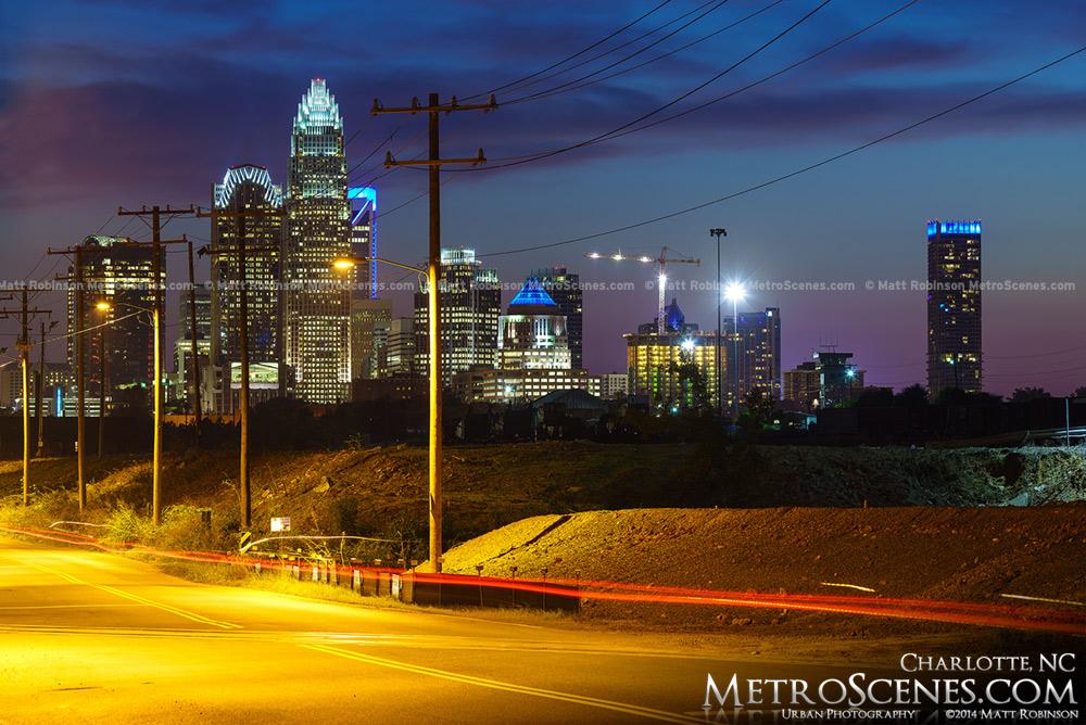 Charlotte skyline with traffic