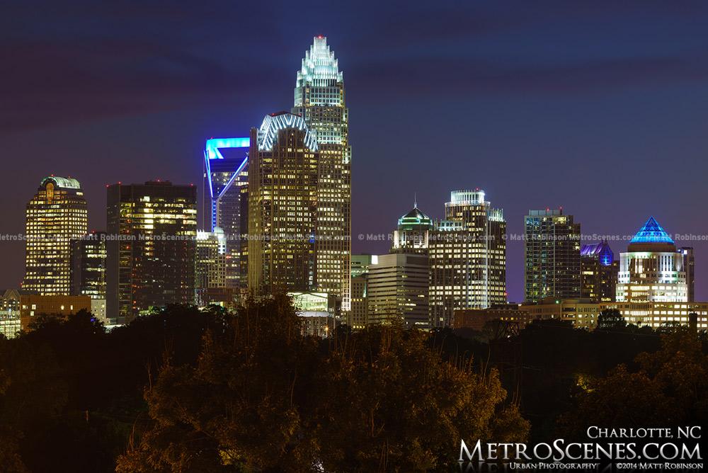 Magic hour view of Charlotte NC