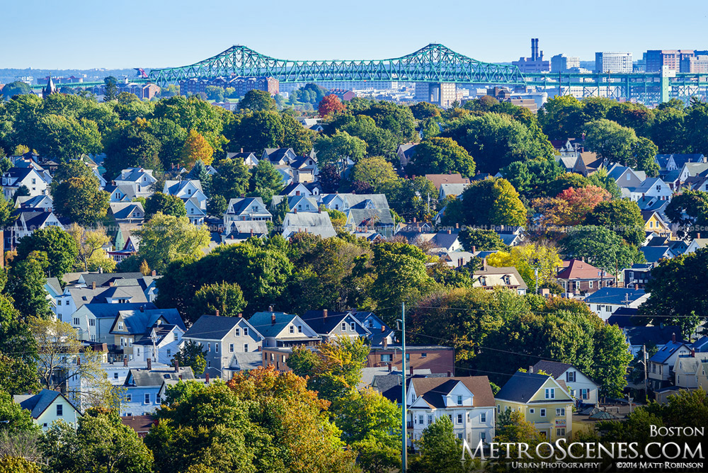 The Tobin Bridge in Boston with New England fall colors