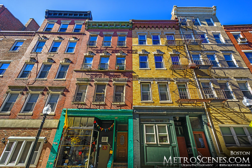 Colorful row of buildings in Boston North End