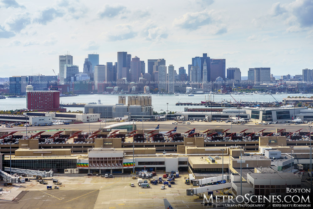 Aerial of Boston Logan International Airport with Boston Skyline