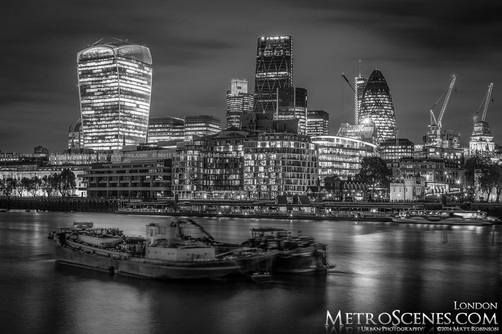 2014 London Skyline in Black and White