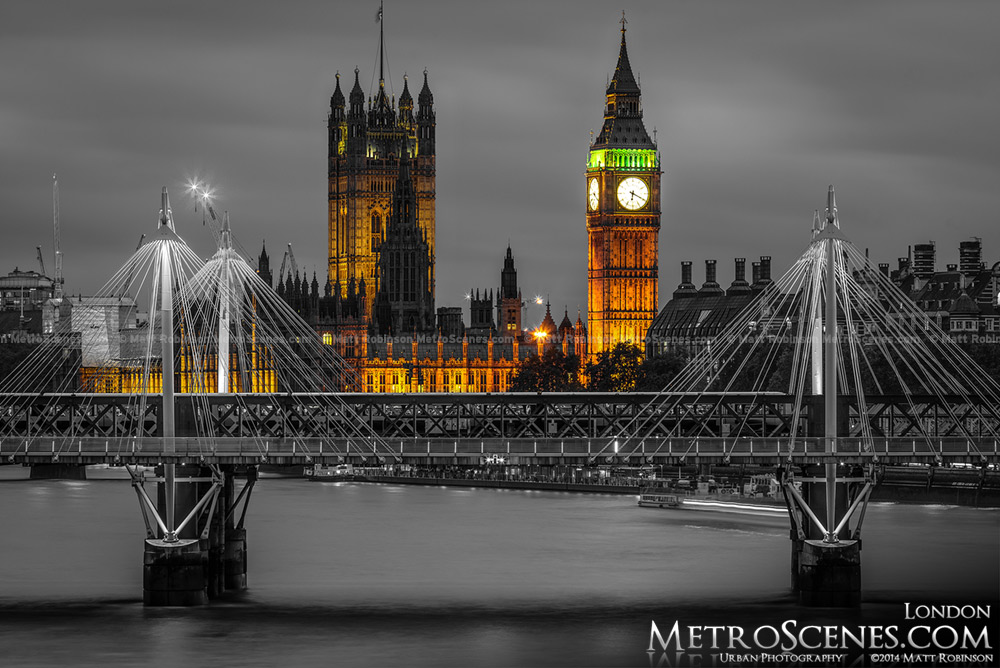 London Big Ben Black and White and Gold