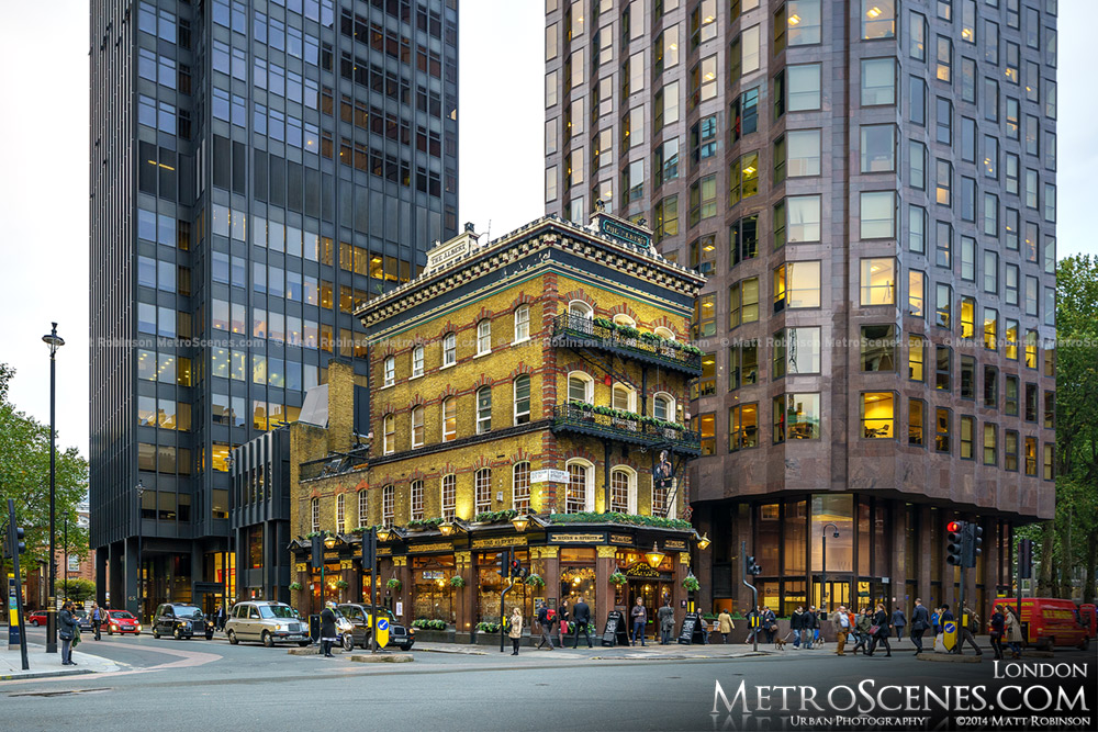 The Albert in London nestled among office buildings in Victoria