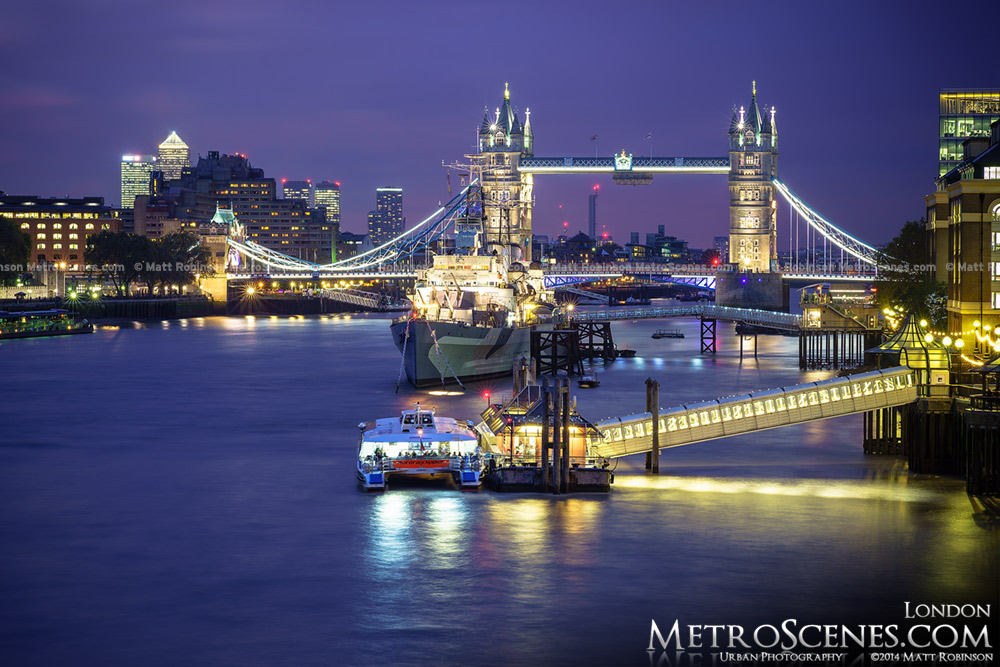 Tower Bridge over the Thames at night