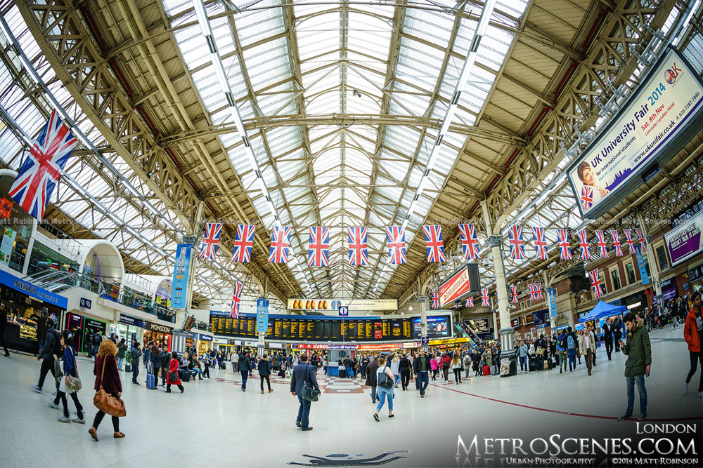 Fisheye of London's Victoria Station
