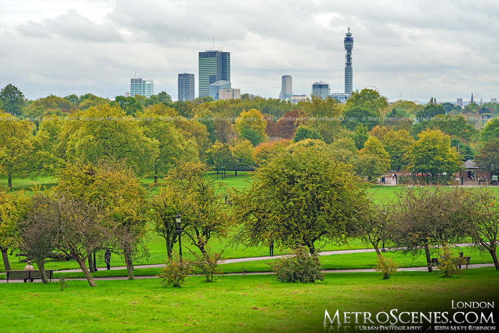 Fall in Regent's Park from Primrose Hill London