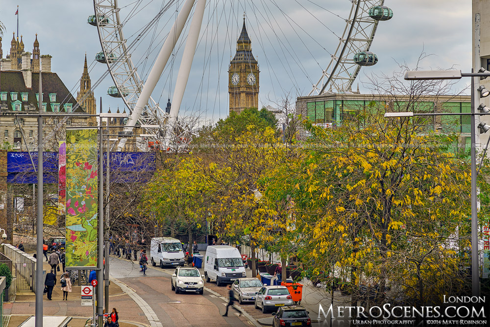 Fall Colors with Big Ben and the London Eye