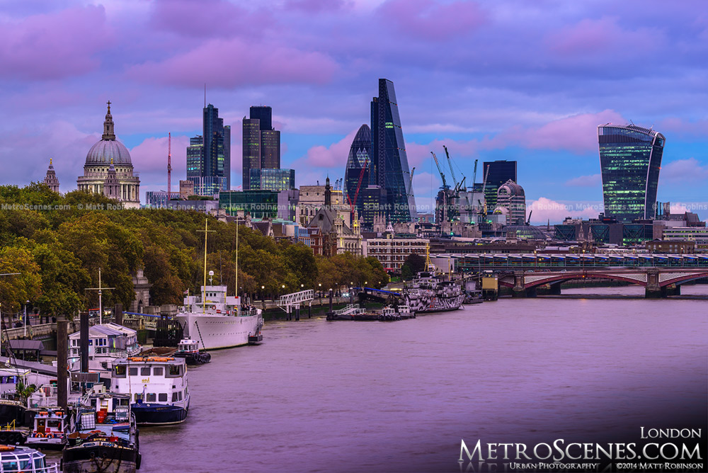 Sunset over the City of London Skyline from the Waterloo Bridge