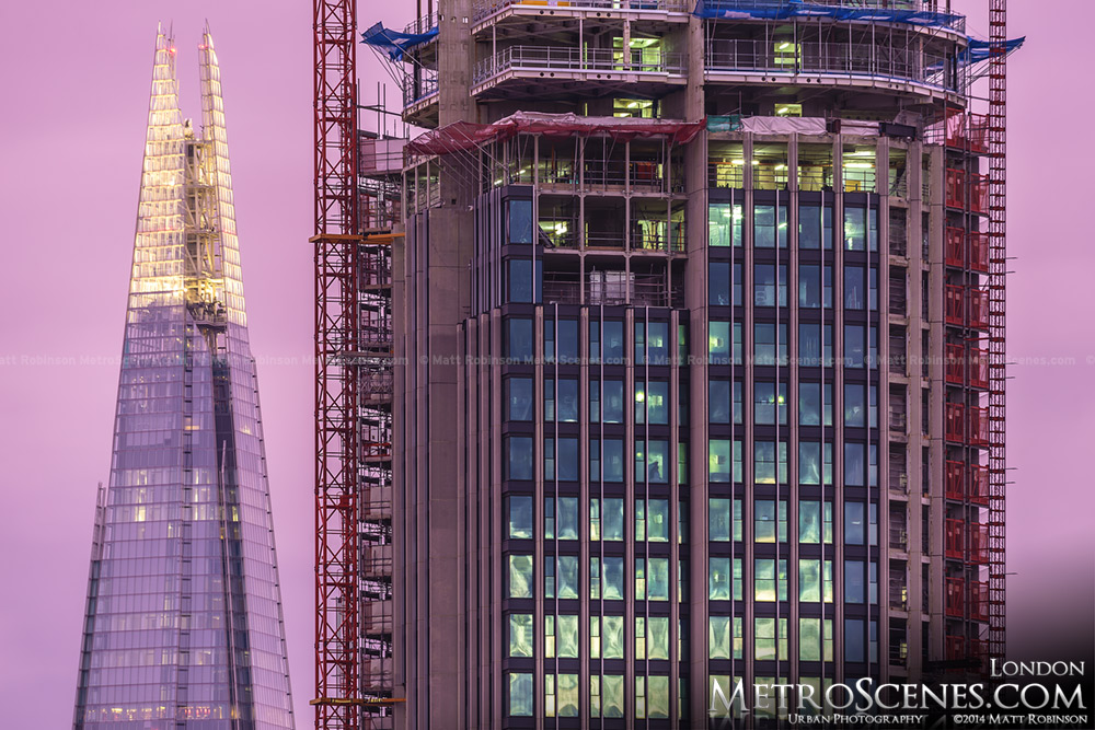 The Shard pinnable and South Bank Tower under construction