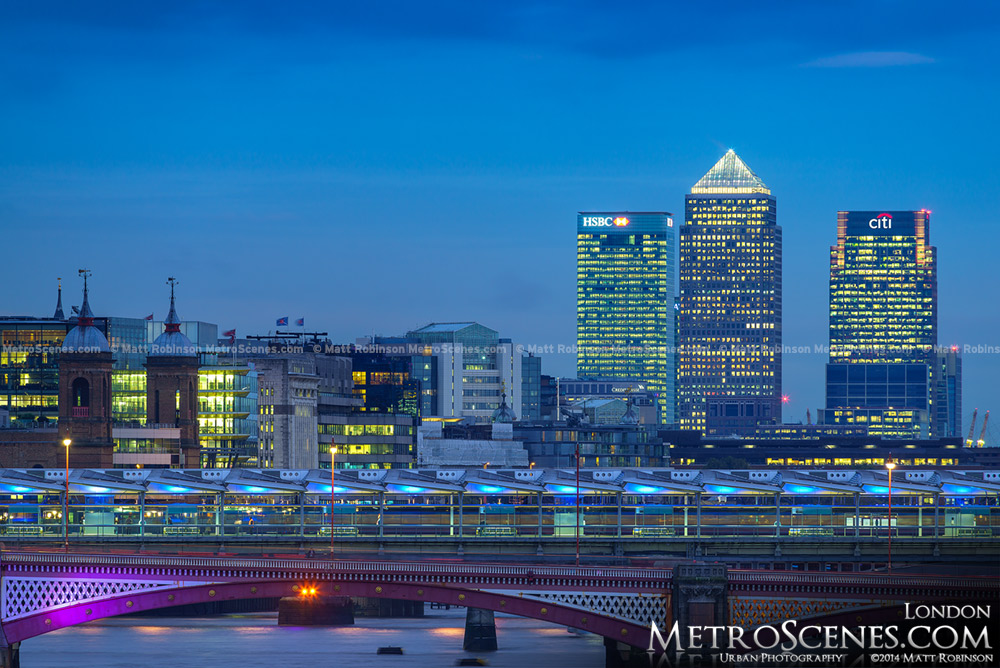 Canary Wharf Skyline and Blackfriars Bridge