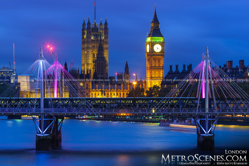 Palace of Westminster with the Hungerford Bridge and Golden Jubilee Bridges at night