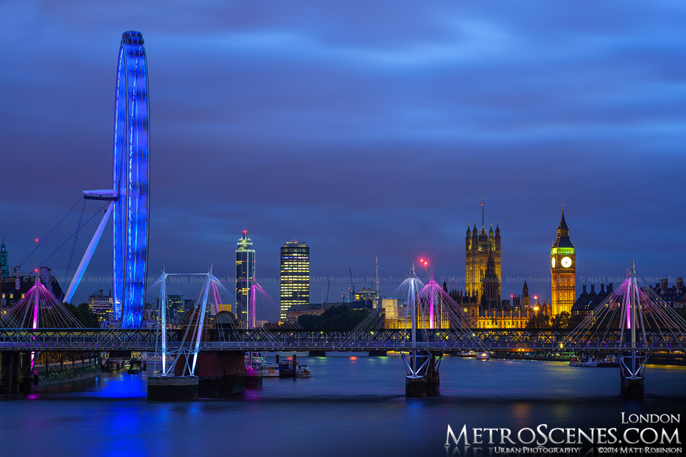 The London eye and skyline of Victoria and City oF Wesminster