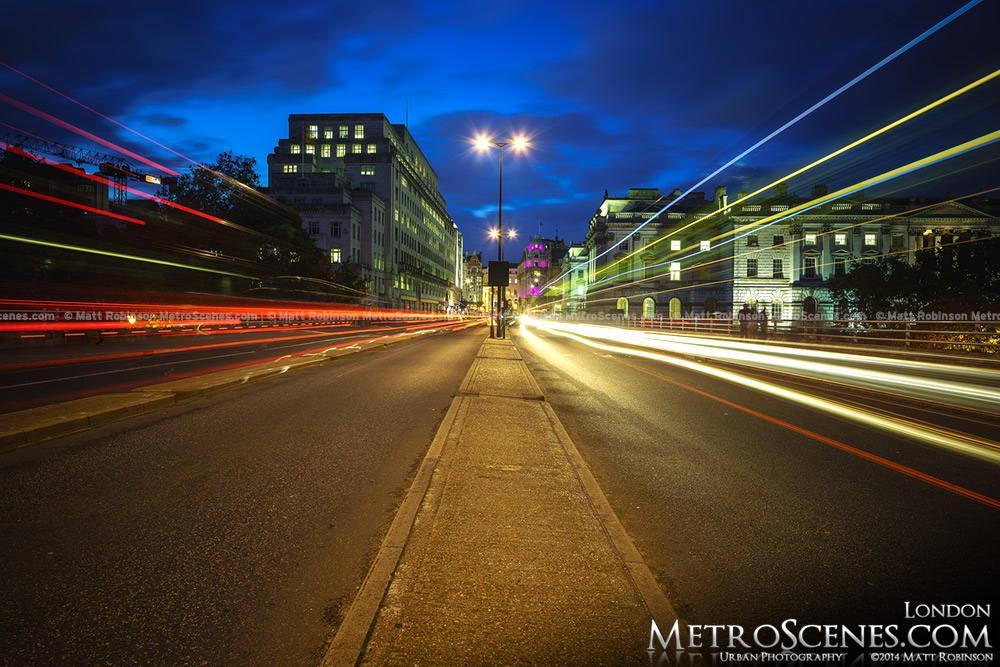 Traffic streams across the Waterloo Bridge