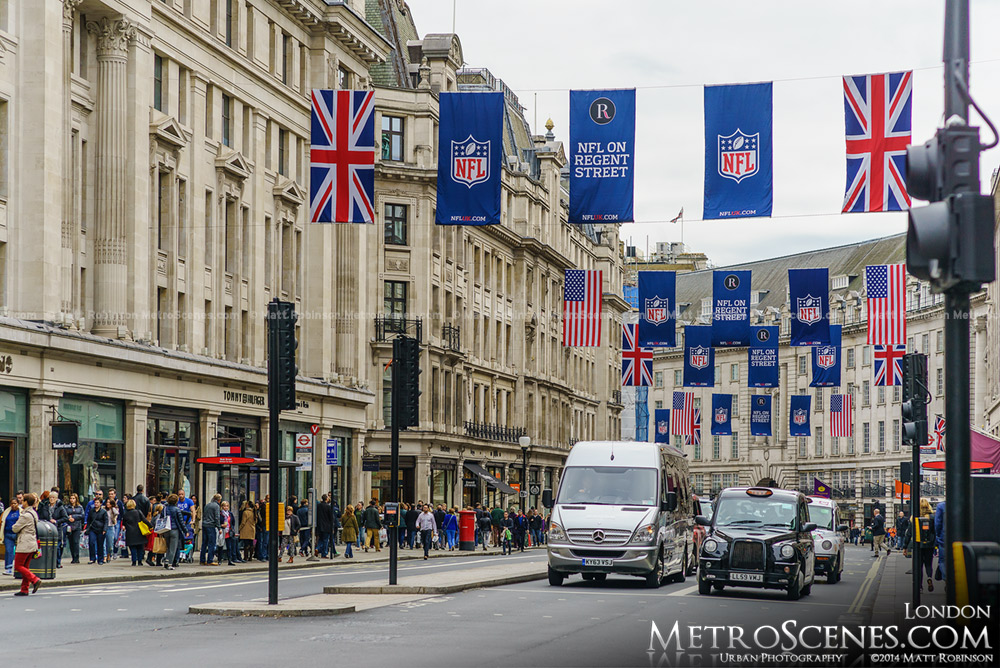 Regent Street in London with NFL UK Banners