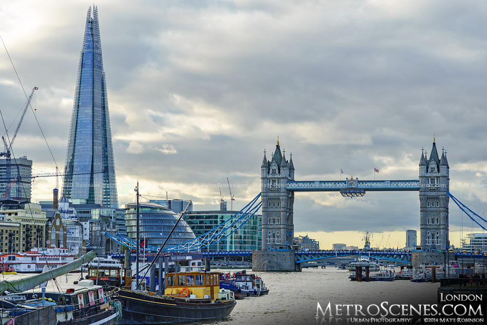 The Shard and Tower Bridge from Hermitage Riverside Memorial Garden